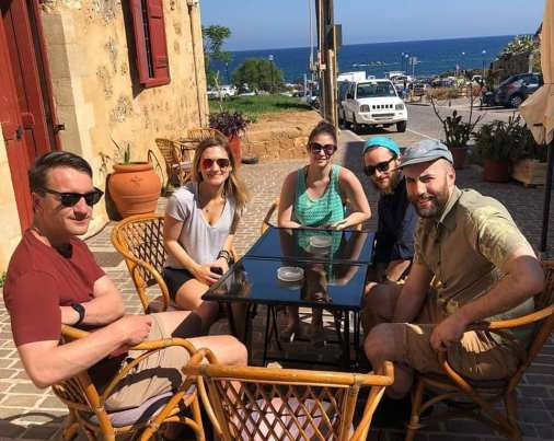 The group at our breakfast spot in Crete.